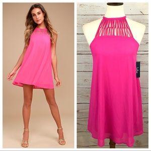 NWT Lulus Tell Me Fuchsia Hot Pink Swing Dress